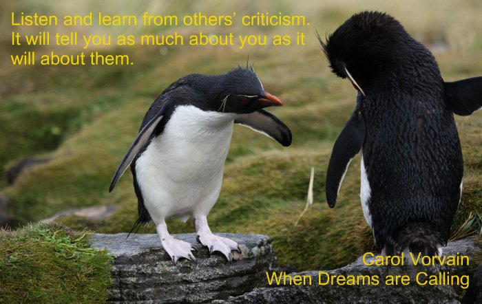 Listen and learn from others' criticism. It will tell you as much about you as it will about them.